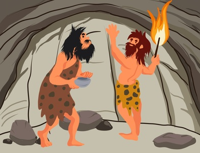 Caveman communicates with each other storytelling graphic design bookillustration procreate ipad apple pencil digital painting digital art