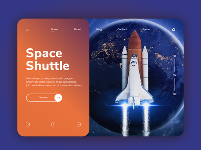 Space Shuttle landing page concept website ux art nasa space shuttle design web interface ui uiuxdesign dribbble