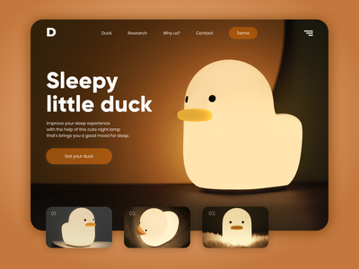 Sleepy Little Duck night lamp UI web design uiux design product branding concept website uiuxdesign ui ux interface dribbble design