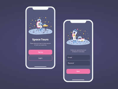Space Tours App: Sign Up Screen designer app space product website concept art ui ux uiuxdesign interface dribbble design