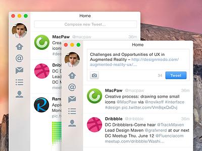 Twitter UI for OS X Yosemite ui twitter osx yosemite sketch