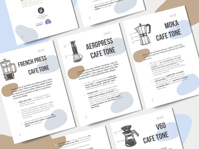 Coffee making instructions for CAFE TONE graphicdesign brochure book typography typesetting design