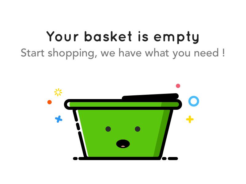 Shopping Basket state empty illustration green basket shopping icon