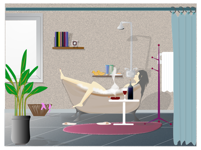 Bathtube Sunday | hI,, Illustrator bandung illustration design