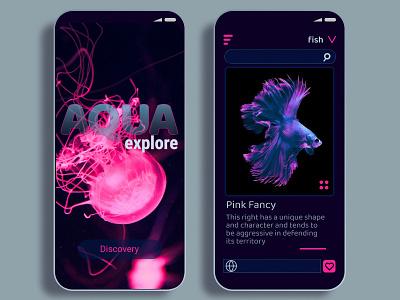 Aqua Explore - Pink Fancy dark ui fish ui design uidesign