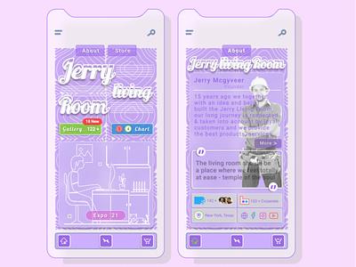 Jerry Living Room - UI Design uidesign livingroom retro vector illustration