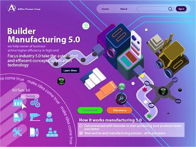 Landing Page - Manufacturing 5.0 graphic design designvisual landingpage ui kixpandemix bandung design illustration uidesign