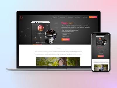 PumPum Product Landing Page css smartwatch app banding logo branding ux ui brandidentity design