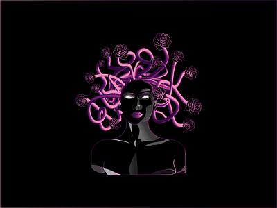Medusa design illustration rose snake medusa