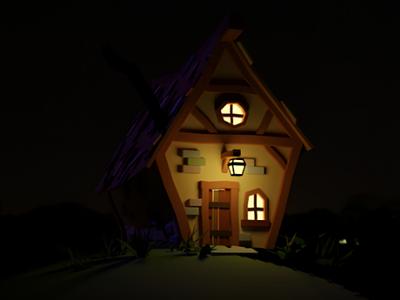 Cottage night lowpoly 3dmodel rendering render house home cottage 3d blender