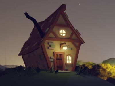Cottage 3dmodel evening rendering render cottage house home lowpoly 3d blender