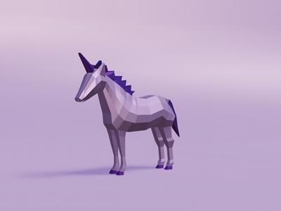Lowpoly Unicorn horse purple unicorn lowpoly 3d blender