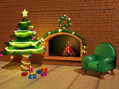 Christmas Home gift christmas evening rendering render home 3dmodel lowpoly blender 3d