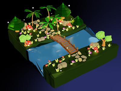 Bridge flowers mushroom tree bridge design render 3dmodel lowpoly blender 3d