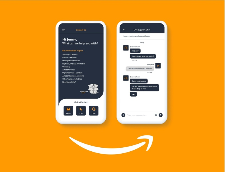 Contact Us live chat uxui concept design amazon contact us design uidesign uichallenge dailyui