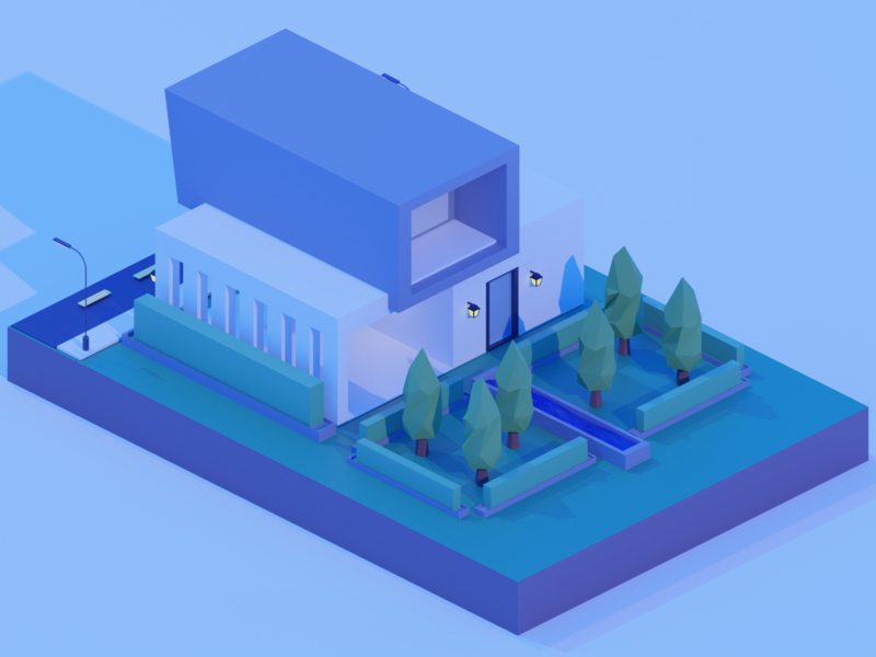 Low Poly Simple Modern House