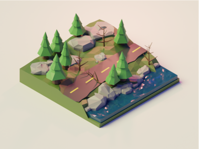 Low poly scenic route