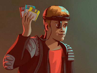 """""""Dade"""" from """"Hackers,"""" 1995 nft digital painting procreate character design illustration"""