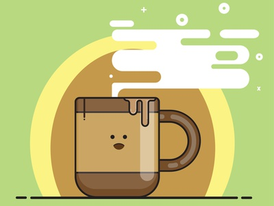 Coffee Illustration - Flat Design animation flat app icon ux vector branding ui logo design illustration