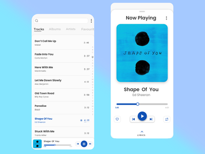 Music Player - Minimal UI Design minimalist design ankitcreatives bluecolour musicplayer uidesign