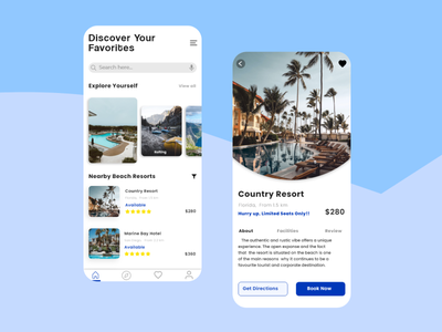 Travel App - UI Design design ankitcreatives traveling bluecolor adobexd uidesign travelapp