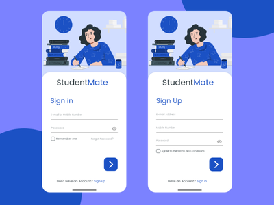 Sign in and Sign Up Screens for Educational App education app student typogaphy bluecolor ux illustration adobeillustator uidesign adobexd design ankitcreatives
