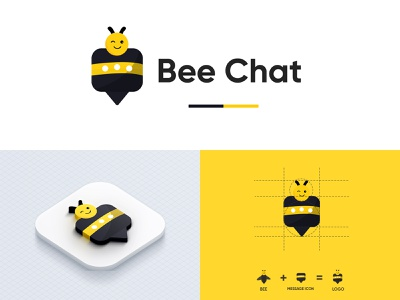 Bee Chat - Message App Logo logo 2021 minimalist logo message app minimalistic logo minimalistic logo color logo bee logo chat logo be chat logo messaging app logo app logo message app logo logodesign logo