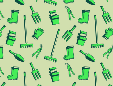 Garden Tool Pattern graphic design vector art branding illustraion tools gardening
