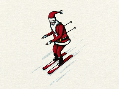 Santa Tries Skiing christmas halftones bright colors bold lines true grit texture supply illustration art