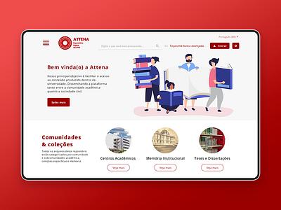 Attena (UFPE's institutional repository) design pernambuco brasil recife user interface redesign college institutional repository ux design ui design adobe xd product design