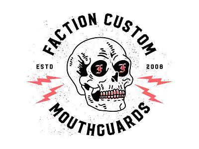 Faction Custom Mouthguards tshirt mma branding drawing badge seal bolts lightning skull mouthguards custom faction