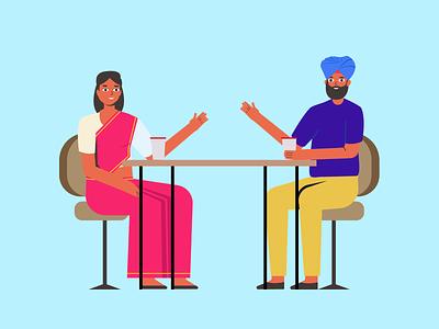 Sam Illustrations meeting discussion talk friend friends sikh indian character illustrations crafttorstudio freebie illustration vector