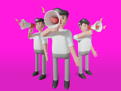 Announcement speaker announcement character plugin sketch figma blender 3d graphic illustration freebie