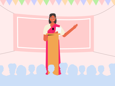 Public Speaking politics speech public speaking public woman ui design mobile illustrations character crafttorstudio vector illustration freebie