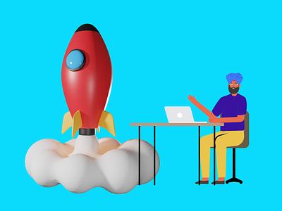 Launch Rocket sketch figma technology launch rocket 3d ui design illustrations character crafttorstudio vector illustration freebie