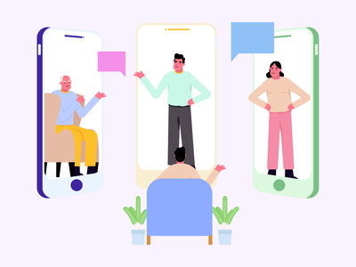 Zoom Meeting office friends discuss discussion chatting call zoom call hangout group chat meet meeting ui mobile design character vector illustrations illustration freebie