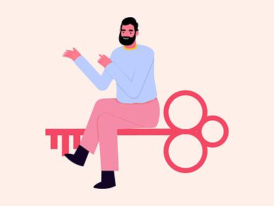 Unlock unlock sitting key lock sign in sign up login design ui crafttorstudio vector character illustrations illustration freebie