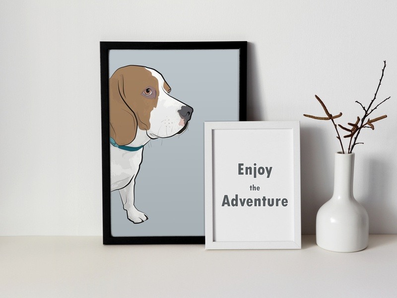Sir Cooper: framed pet portrait of a beagle