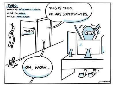 Theo, the programming ninja design illustrator illustration programmer ninja