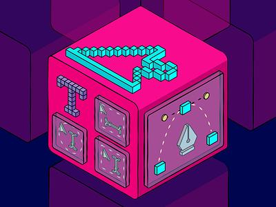 🔨tools in design factory box pink design process path type design cursors isometric art adobe illustrator graphic design isometric illustration colorful vector design design art illustrator illustration