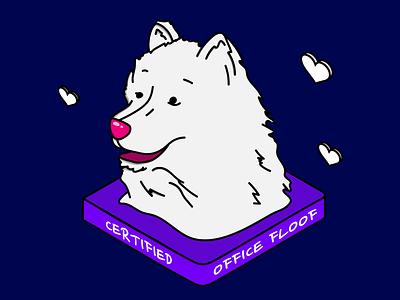 certified office floof purple character colorful isometric art work from home office dog illustration dog vector adobe illustrator graphic design design art illustration