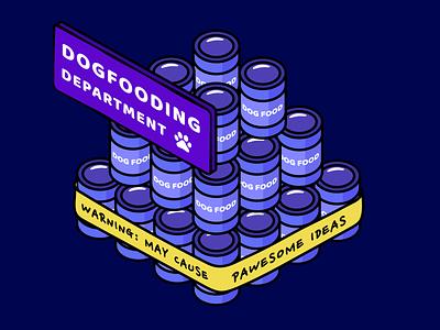dogfooding 🐶 mural minimalist symmetric wacom artwork dogfooding dog food dog vectorart purple isometric illustration isometric art colorful design vector adobe illustrator graphic design design art illustration