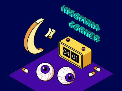 insomnia corner 👀 process inspiration ux pill eyeball moon stars insomnia isometric art colorful design vector adobe illustrator illustrator design art illustration