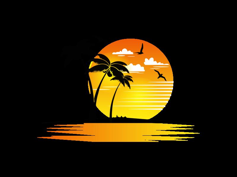 Summer chill beach dribbble sunset birds day vector flat animal illustration logo