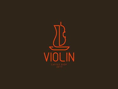 Violin café tea coffee cup coffeeshop coffee cafe branding cafe logo cafe minimal creative design art design logodesign branding logo