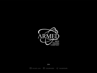 Armed Trading Company trading card sign vector illustration graphic design branding logo design