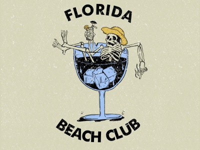 BEACH CLUB vibe enjoy skeleton tshirtdesign miami florida state beach customdesign illustration