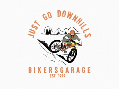 Just Go Downhill design clothing downhill mountain bike mountainbike mtb badgedesign clothing brand tshirtdesign illustration customdesign