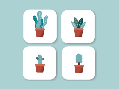 Plants flat design branding app ux ui vector illustration flat design minimal