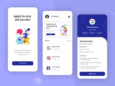 Job Search | Mobile Apps vector flat logo mobile app web design app illustration design minimal ux product design branding animation dashboard website ui mobile